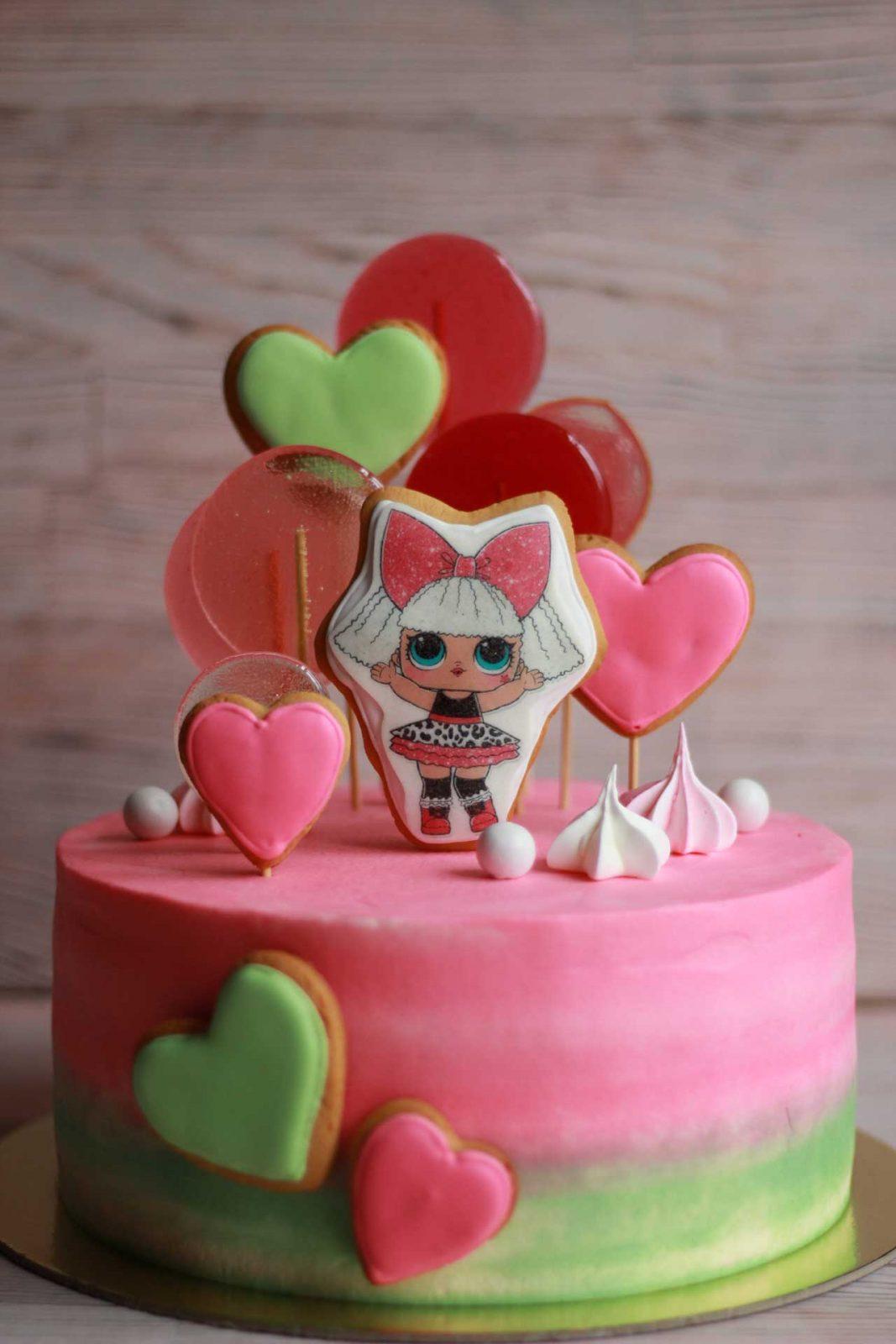 Розовый тортик с куколкой ЛОЛ