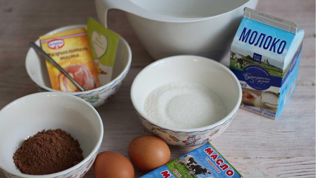 Ингредиенты для шоколадных капкейков