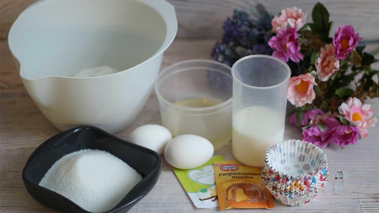Ингредиенты для кексов на кефире