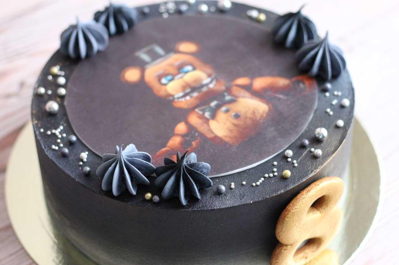 Торт чёрный с фотопечатью