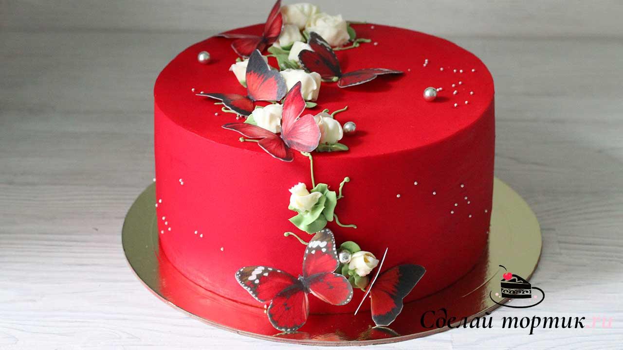 Торт с бабочками из вафельной бумаги