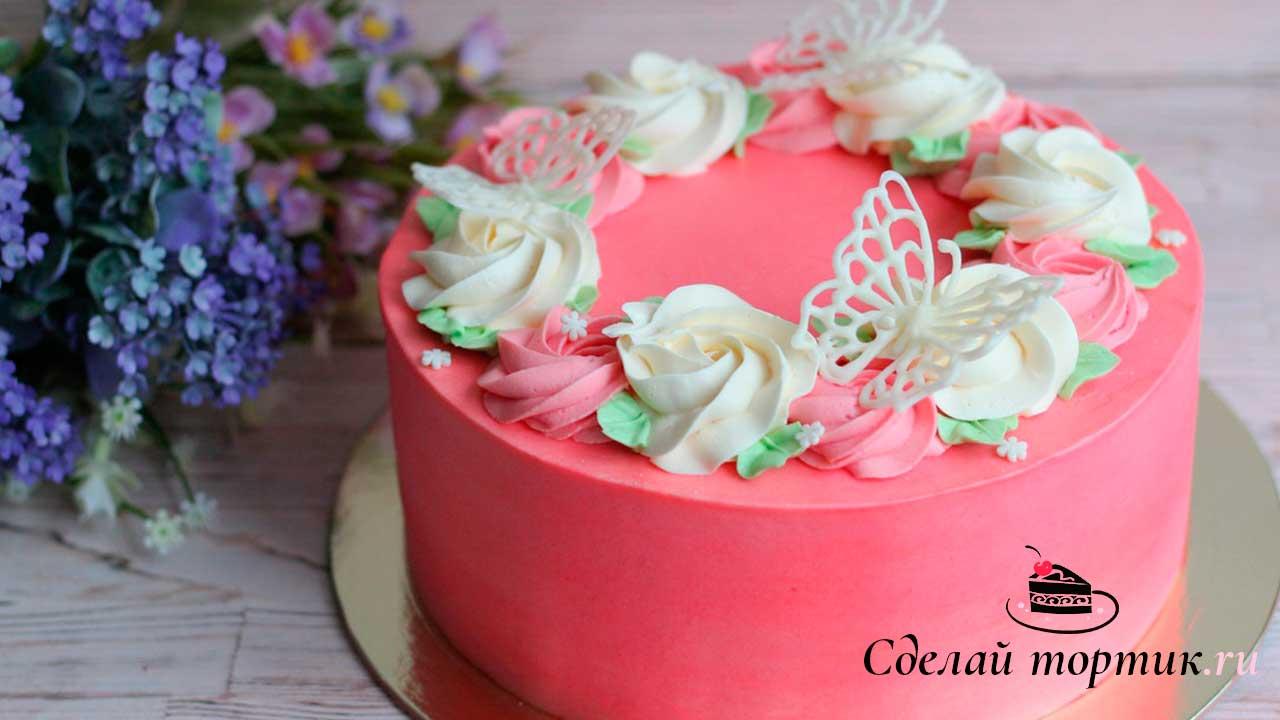 Торт с бабочками из шоколадной глазури
