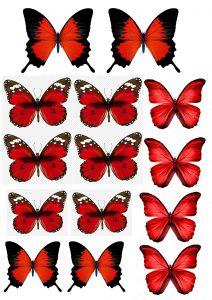 Шаблон для изготовления красных бабочек из вафли