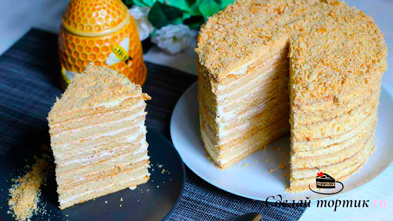 Торт медовик с творожно - сметанным кремом