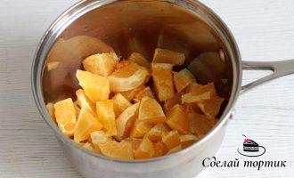 Снять цедру с 2-х апельсинов, нарезать апельсины так чтобы получилась мякоть, соединяем в сотейнике мякоть апельсина, цедру и сахар.