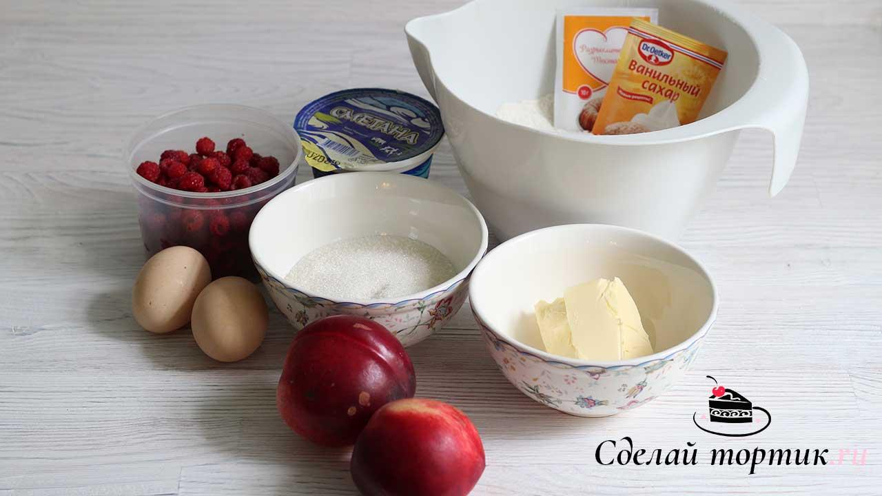 Ингредиенты на пирог с нектаринами и малиной