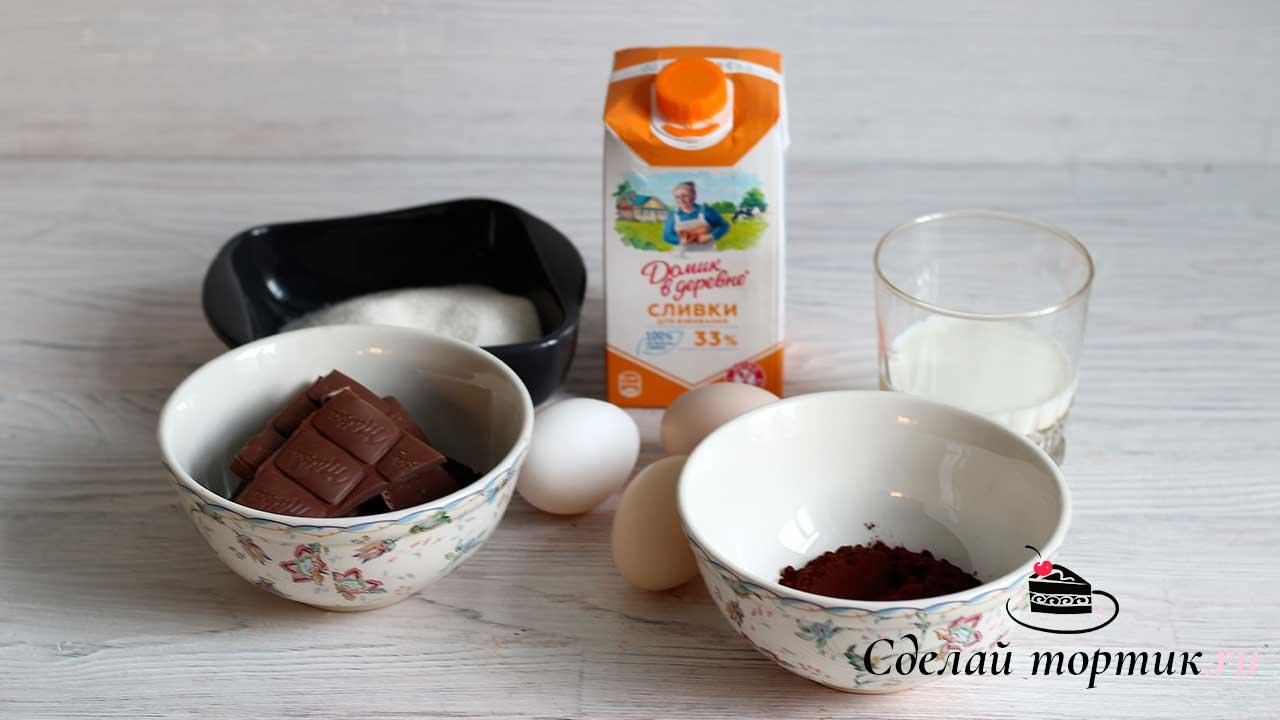 Ингредиенты на шоколадное мороженое.