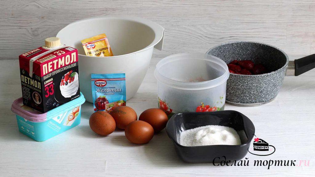 Ингредиенты для торта со шпинатом и клубникой